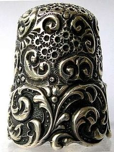 ornate silver thimble by shelby