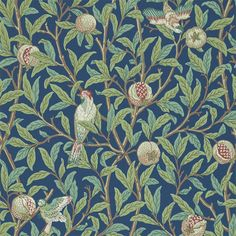 Morris and Co Bird and Pomegranate DARW212540 Blue/Sage wallpaper from the Archive II Wallpapers collection, priced per roll. Dating from 1926 Bird & Pomegranate was one of the last block printed wallpapers designed by Morris & Co