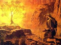 "Moses and the Burning Bush. BIBLE SCRIPTURE: Exodus 3:6, ""Moreover he said, I am the Elohim of thy father, the Elohim of Abraham, the Elohim of Isaac, and the Elohim of Jacob. And Moses hid his face; for he was afraid to look upon Elohim."""