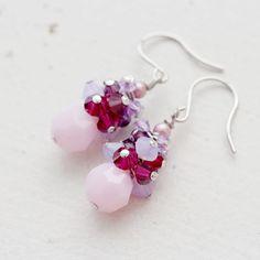 Pink Purple Swarovski Crystal Cluster Earrings by YuniDesigns
