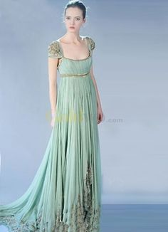 Custom-design:  Gossip Girl Fashion Cap Sleeves Empire Waist Satin Chiffon Maxi Celebrity Dress