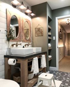 38 Modern Farmhouse Design for Bathroom Remodel Ideas. You may want to change your bathroom to something more traditional and fitting for your residence. A bathroom holds daily essentials which may no. Modern Bathroom, Small Bathroom, Master Bathroom, Bathroom Ideas, Brown Bathroom, Glass Bathroom, Bathroom Cabinets, Mosaic Bathroom, Bathroom Vanities