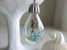 Sea Horse Bottle Jewelry Necklace, Sea Glass beads, Beachy Jewelry, Under the Sea Jewelry, Gift For Her