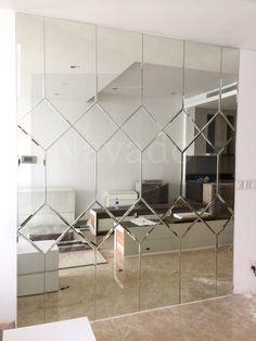 Living Room Tv Unit, Decor Home Living Room, Interior Cladding, Wall Cladding, Home Room Design, Home Interior Design, Dressing Mirror Designs, Mirror Panel Wall, Window Glass Design