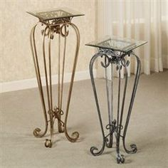 The durable iron and glass Chalcedony Scroll Pedestal Tables feature airy scrolls with acanthus leaf and fleur-de-lis accents. Glass Dining Table, A Table, Iron Pergola, Wood Table Design, Gold Candle Holders, Wrought Iron Decor, Tent Decorations, Iron Furniture, Tuscan Decorating