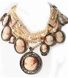 vintage jewelry - cameo necklace - DIY cameo collage - shabby chic, victorian, pearl necklace, choker , cameos,