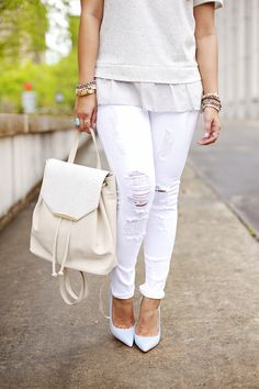 sloane backpack, @schutzoficial #bluepumps, danielle nicole backpack, white denim, backpack, monochromatic #hauteofftherack #whiteout all white outfit
