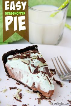 Easy Grasshopper Pie - Kid-friendly chocolate and Andes mint pie! Uses a store-bought Oreo crust so it comes together in literally minutes!