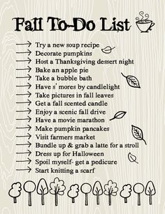 Reference for when I make my fall to-do list! Fall To-Do List: Making time for the important things
