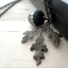 Hey, I found this really awesome Etsy listing at https://www.etsy.com/listing/96939234/moss-green-acorn-necklace-antiqued-brass