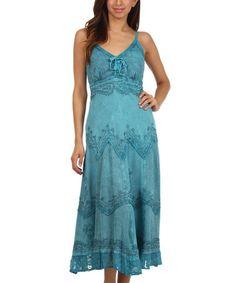 Look what I found on #zulily! Steel Blue Embroidered Empire-Waist Maxi Dress - Women & Plus by Sakkas #zulilyfinds