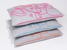 Pink neon rabbit Pillow Cover, via Etsy.