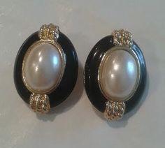 Vintage Earrings signed Richelieu Gold tone Faux Pearls, Black Enamel.