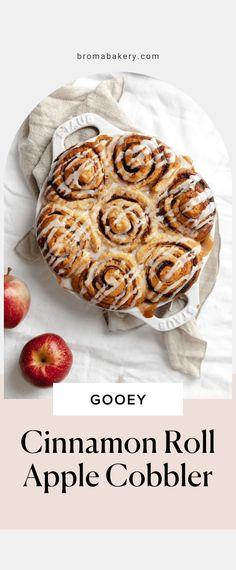 Cinnamon Roll Apple Cobbler - Broma Bakery Apple Desserts, Apple Recipes, Fall Recipes, Holiday Recipes, Cinnamon Spice, Cinnamon Rolls, Pumpkin Spice, Thanksgiving Desserts, Holiday Desserts
