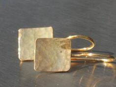 Gold Square earrings dangle  earrings gift for her by anakim, $49.00
