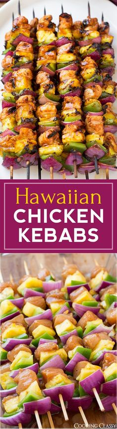 Hawaiian Chicken Kebabs - these are incredibly DELICIOUS! My husband and I loved them! Perfect for a summer meal.