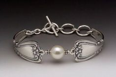 Silver Spoon Pearl Bracelet - Daphne - Roses And Teacups
