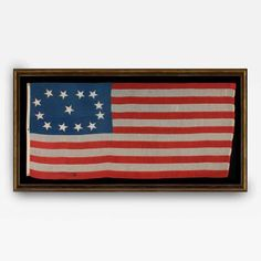 Early 13 Star Ship's Flag with an Exceptional, Lopsided Oval Variation, from Jeff R. Bridgman American Antiques