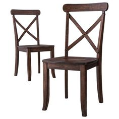 • On-trend, shabby-chic style with distressed finish & metal nailhead detailing<br>• Comfy, high-back design with wide contoured seats<br>• Sturdy hardwood construction <br>• Set of 2 matching chairs<br>• Assembly required<br><br>The Harvester, Set of 2, X-Back Dining Chairs are so charming you and your guests will instantly fall in love with them. These handsome wood chairs have a warm and inviting finish t...