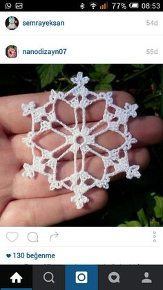 Bells, Flakes, and Tree Skirt Edging: Snowflake A pattern by Patons : One of the easier snowflakes to make! These snowflakes would make gorgeous earrings and other kinds of jewelry for the holidays! Crochet Snowflake Pattern, Crochet Motifs, Crochet Snowflakes, Thread Crochet, Crochet Crafts, Crochet Doilies, Yarn Crafts, Crochet Flowers, Crochet Stitches