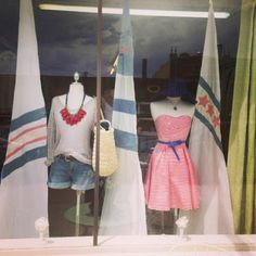 Let's go Sailing!!  Summer window display at Twirl.  #summerwindow #thetwirlgirl