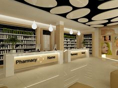 The goal was to create a context, a scenario of a pharmacy where nature coexists with technology. Traditional pharmacy counter was one of the rules that Pharmacy Store, Pharmacy Humor, Drug Store, Store Layout, Counter Design, Hospital Design, Cosmetic Shop, Clinic Design, Retail Store Design