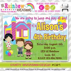 089 DIY Bounce House Fun 4 Party Invitation Or by LilRbwKreations