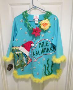 Hawaiian Christmas fish Mele Kalikimaka Light Up hibiscus Tacky Ugly Christmas Sweater Tropical Delight sz 1x sequined feather boa