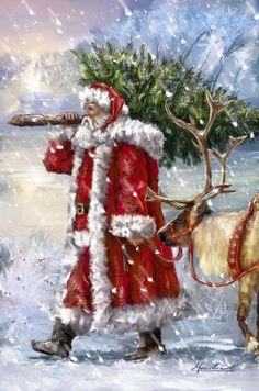 Marcello Corti - Christmas Santa Reindeer and Fir Magical Christmas, Christmas Scenes, Vintage Christmas Cards, Santa Christmas, Christmas Pictures, Christmas Greetings, Winter Christmas, Christmas Crafts, Father Christmas