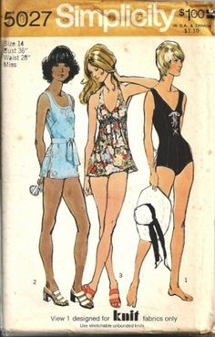 1972 Simplicity 5027 Vintage Sewing Pattern. Misses' Set Of Bathing Suits: V.1 - MISSING! V.2 with back zipper has low round neckline, slits in side seams, knitted braid trim and self fabric tie belt.