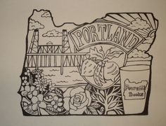 "Powell's Books Portland Oregon Outline Drawing. Pen on Paper. 5"" x 7"". By Allison J. Brattt. www.AllisonJBratt.com, www.facebook.com/AllisonJBratttArt, twitter: @AllisonBrattArt"