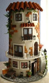 Immagine correlata Clay Houses, Ceramic Houses, Miniature Houses, Tile Crafts, Clay Crafts, Birdhouse Designs, Clay Tiles, Theme Noel, Decorative Tile