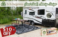 Find unique outdoor rug and RV mats designs. Shop with huge savings with your every purchase. Free Shipping to the US and Canada. Visit bbbegonia.com now to order! Rv Life, Rv Camping, Outdoor Area Rugs, Recreational Vehicles, Canada, Patio, Free Shipping, Unique, Shop