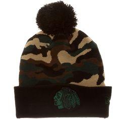 Chicago Blackhawks Camo Knit Hat with Pom By New Era #Chicago #Blackhawks #ChicagoBlackhawks