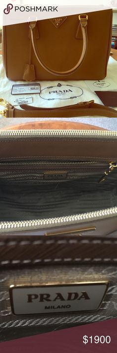 "Prada saffiano leather double zip tote in caramel Like new, excellent condition. Authentic with dust bag, authenticity card, and original tag included. I bought a larger size and have decided to keep that one instead. 11.75"" x 8"" x 5.25"" Prada Bags"