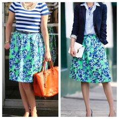 """J Crew Midi Skirt Photo floral skirt in vivid mint green and blue. This is the retail version, has pockets and is 24"""" long. Sizing is generous, fits more like a 2/4.  ~CONDITION: New with tags    No Trades ✅ Discounted Bundles ✅ Offer Button Welcome J. Crew Skirts Midi"""