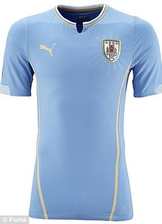 Uruguay's home strip features gold trim to reflect on past World Cup and Copa America success
