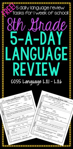 FREE! 1 week of daily Common Core language review for 8th grade! 5-A-Day: 5 tasks a day, M-Th. CCSS L.8.1-L.8.6. Also available for 4th, 5th, 6th, and 7th grades!