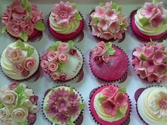 Floral Pink Cuppies - by Vintage Rose @ CakesDecor.com - cake decorating website
