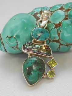 Tibetan Turquoise Pendant 8 with Citrine and Pearl - Andrea Jaye Collection