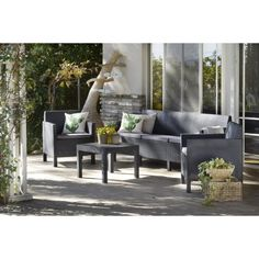 10 seater ready assembled garden sofa set, chocolate / brown ...