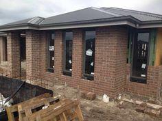 PGH mocha brick, woodland windows roof and gutters Exterior Color Schemes, Exterior Paint Colors For House, Grey Exterior, Paint Colors For Home, Paint Colours, Colour Schemes, Brick Roof, Brick Facade, Facade House