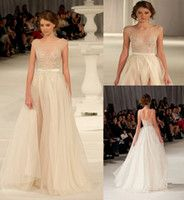 Wholesale Fashion New Paolo Sebastian Wedding Dresses A line Organza Split Front Backless Wedding Dress Applique Beading Bridal Gowns