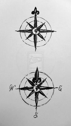 simple compass rose tattoo - Google Search