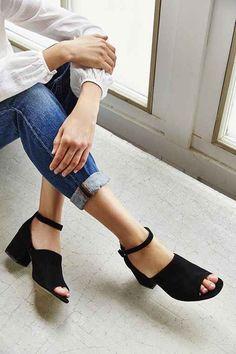 af6963fc3b6f6 Bessie Suede Heel Chunky Heel Sandals, Black Chunky Sandals, Heeled  Sandals, Chunky Shoes