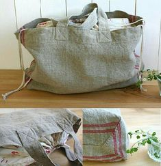 Free sewing pattern for a shopping bag with a drawstring closure. Some experience w/sewing would be needed, but diagrams can be figured out. Sewing Hacks, Sewing Tutorials, Sewing Crafts, Sewing Patterns Free, Free Sewing, Japanese Sewing Patterns, Bag Patterns, Diy Sac, Fabric Bags