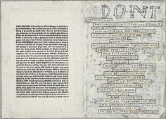 SIMON EVANS  Dont, 2010  Pen, paper, scotch tape  8 1/8 X 11 5/8 inches Word Art, Word Collage, Collage Art, Simon Evans, Contemporary Art, Modern Art, Thoughts And Feelings, Detailed Image, Bookbinding