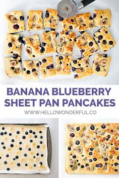 These banana blueberry sheet pan pancakes are so easy to make and a time saver at breakfast when you need to feed a bunch of people at once! Baby Food Recipes, Gourmet Recipes, Pasta Recipes, Cooking Recipes, Blueberry Pancakes, Baked Pancakes, Think Food, Breakfast For Kids, Breakfast Ideas