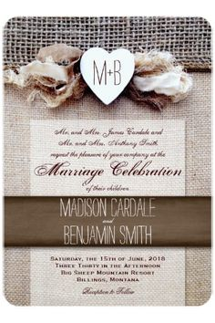 Rustic Printed Burlap Heart Initial Wedding Invitations with the bride and groom's initial in a heart at the top.  This unique country wedding invitation is 40% OFF when you order 100+ Invites.  Two Sided Design.  #wedding #countrywedding #burlap