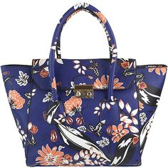 Nu G Winged Floral Print Satchel (110 RON) ❤ liked on Polyvore featuring bags, handbags, blue, floral handbags, vegan leather purses, blue handbags, handbag satchel and faux leather satchel